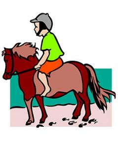 Gutt på en liten hest, tegning. illustrasjon