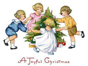 Små barn går i ring rundt et lite juletre. Illustrasjon